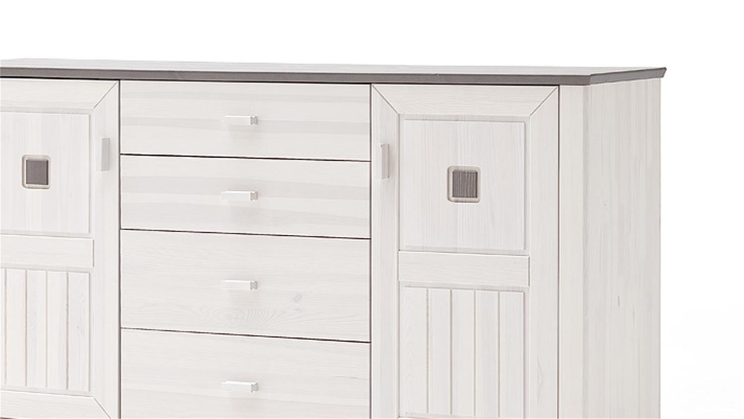 Sideboard malm kommode kiefer massiv wei lava 180 cm breit for Sideboard 2 m breit