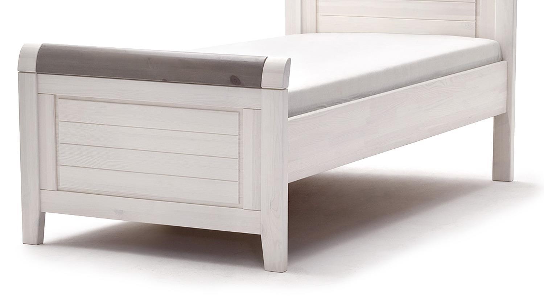 Holzbett massiv weiß  Bett MALMÖ Kiefer massiv weiß lava grau 90x200 cm