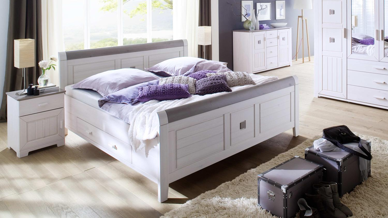 bett malm kiefer massiv wei lava 200x200cm mit schubk sten. Black Bedroom Furniture Sets. Home Design Ideas