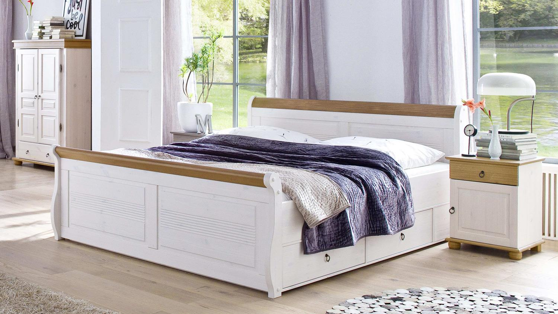 komfortbett oslo bett aus kiefer massiv wei antik 180x200cm. Black Bedroom Furniture Sets. Home Design Ideas
