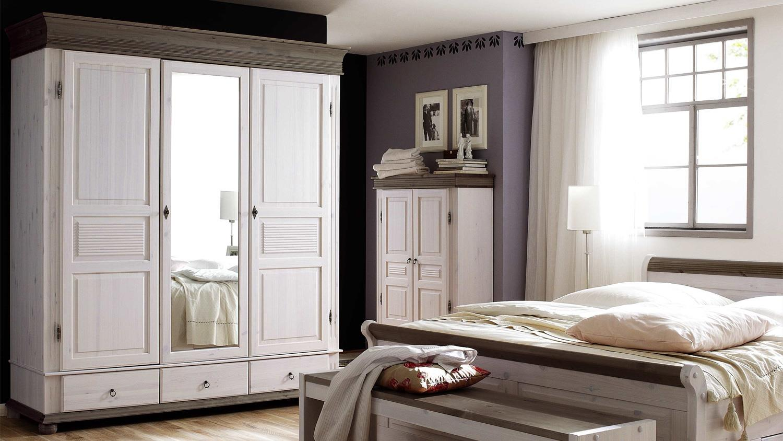 kleiderschrank oslo kiefer massiv wei lava 3 trg mit spiegel. Black Bedroom Furniture Sets. Home Design Ideas