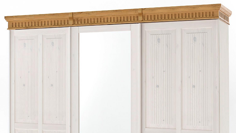 HELSINKI 3-türig Schrank Kiefer massiv weiß braun