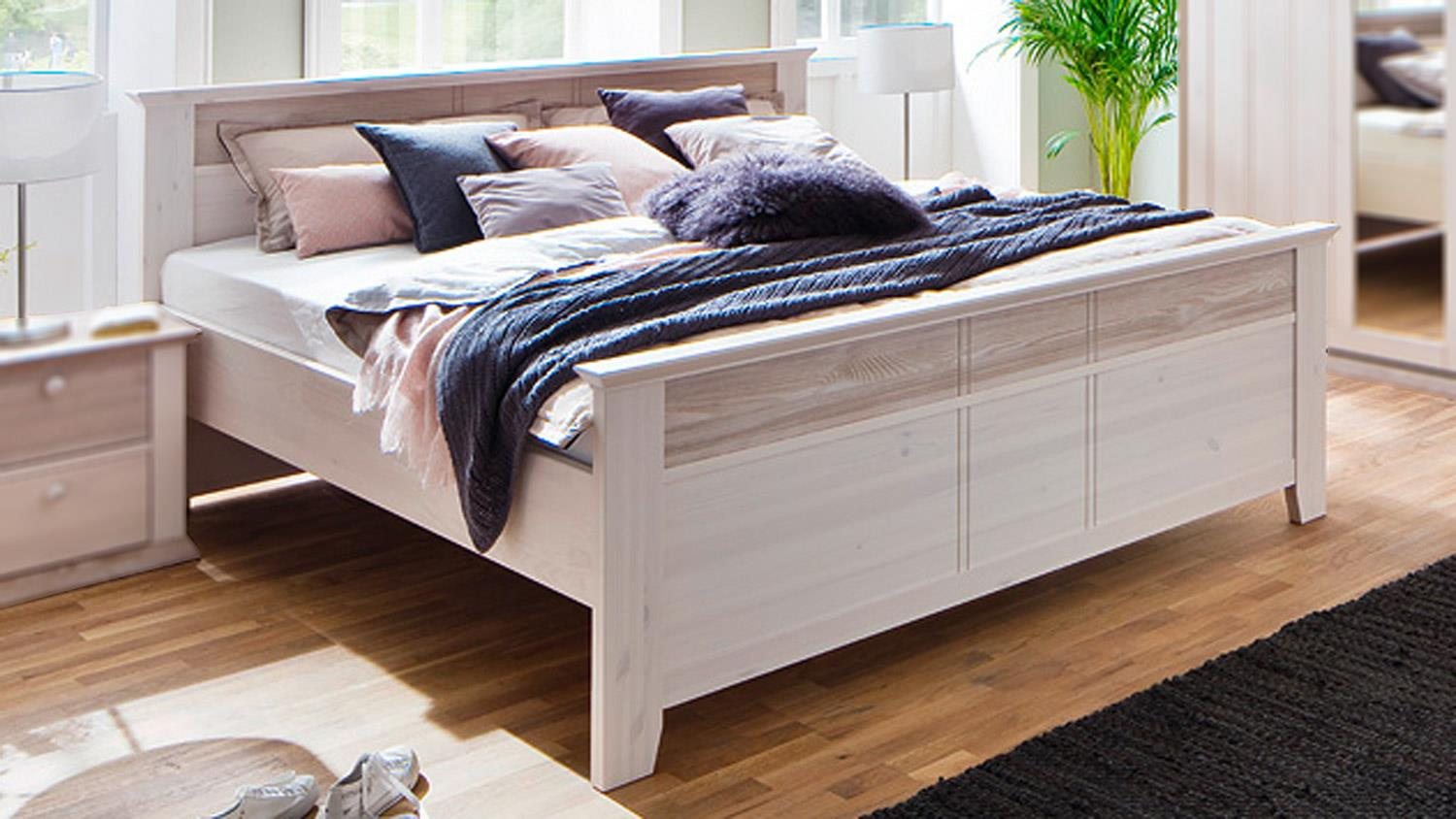bett g teborg doppelbett kiefer massiv wei milan 180x200cm. Black Bedroom Furniture Sets. Home Design Ideas