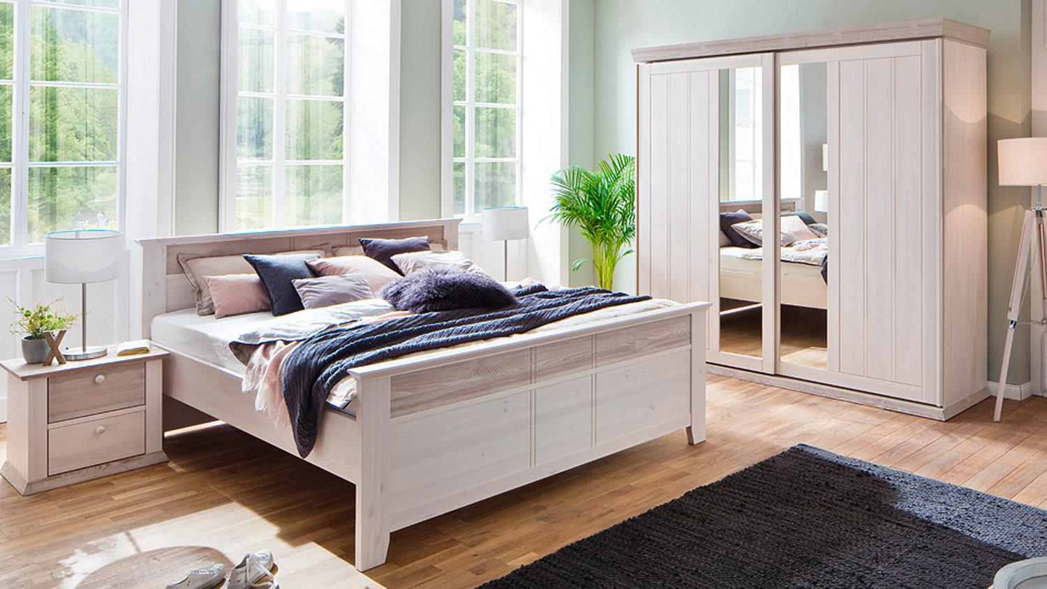 schlafzimmer g teborg 4 tlg set kiefer massiv wei milan mit schweber. Black Bedroom Furniture Sets. Home Design Ideas
