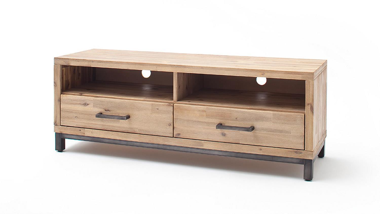 tv board verona 1 lowboard in akazie massiv new smoke und metall. Black Bedroom Furniture Sets. Home Design Ideas