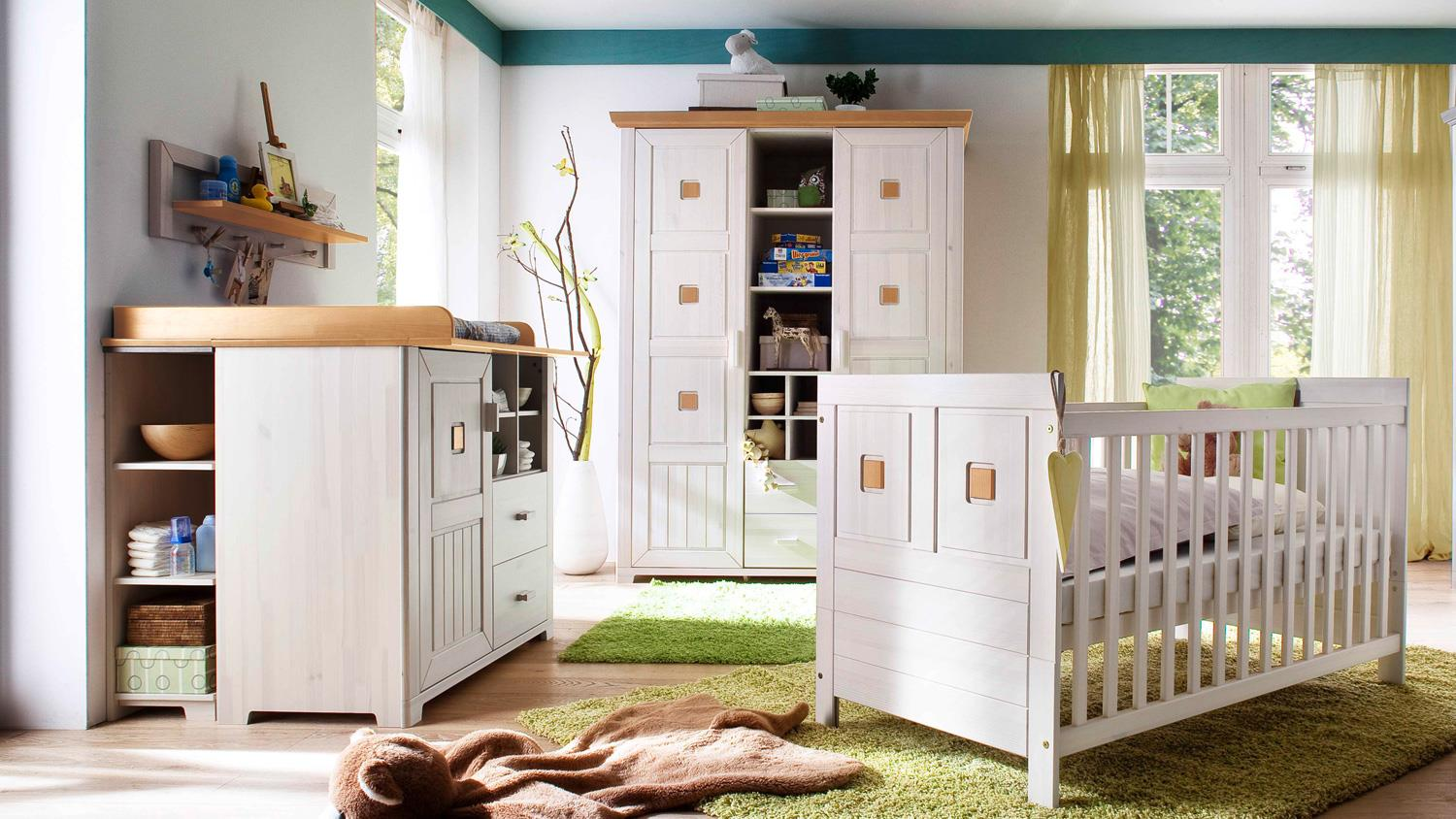 babyzimmer malm komplettset 7 teilig kiefer massiv wei antik. Black Bedroom Furniture Sets. Home Design Ideas