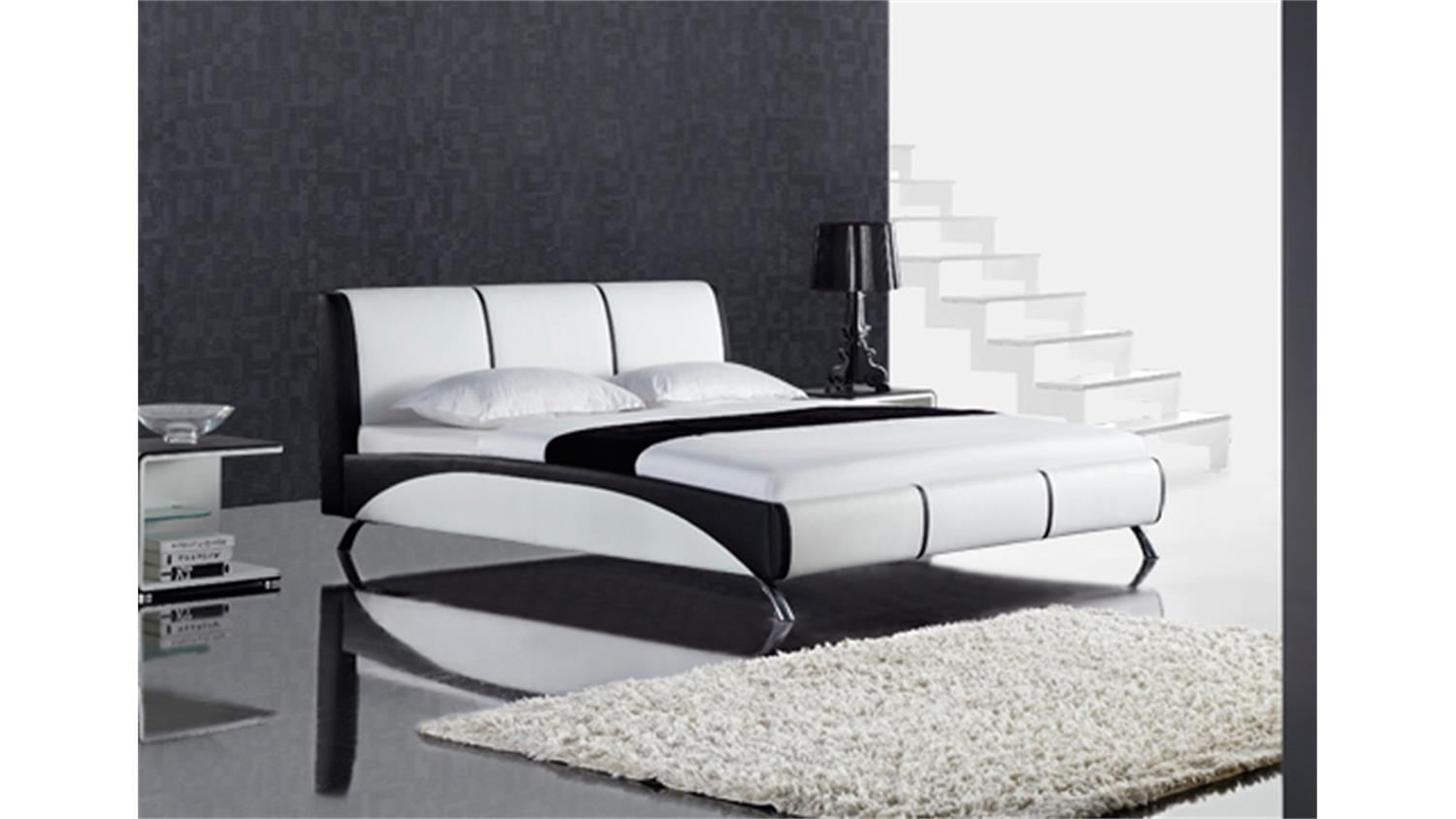polsterbett fun designer bett 180x200 schwarz wei. Black Bedroom Furniture Sets. Home Design Ideas