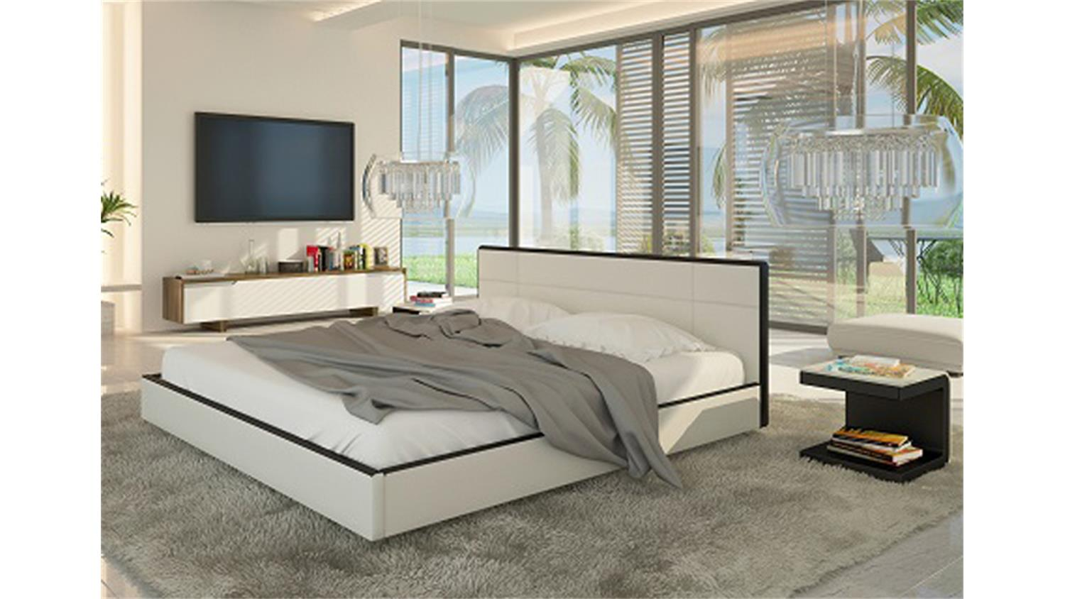 polsterbett speedy schlafzimmerbett bett 140x200 in wei. Black Bedroom Furniture Sets. Home Design Ideas