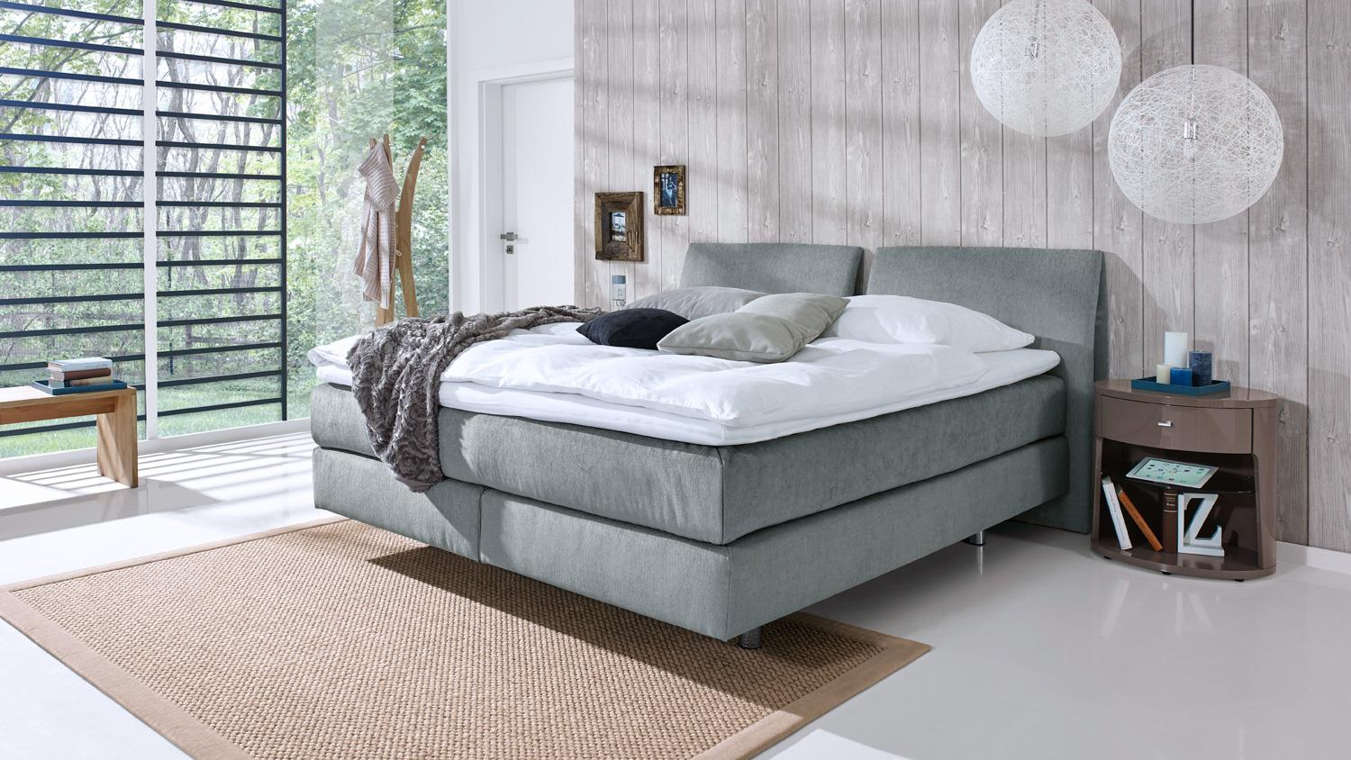 boxspringbett couture in stoff grau mit kopfteil topper 180x200 femira. Black Bedroom Furniture Sets. Home Design Ideas