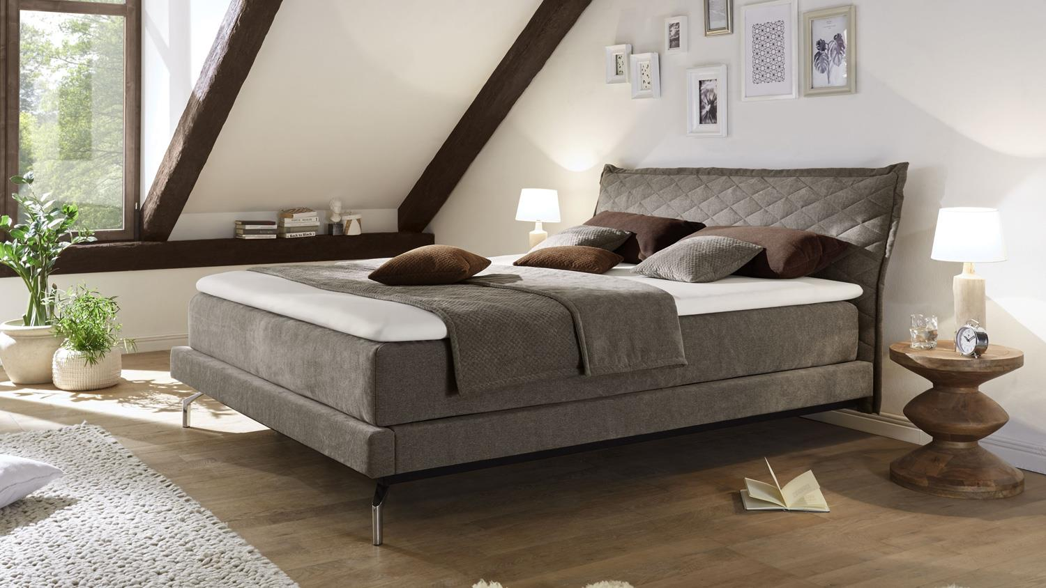 boxspringbett creation stoff taupe mit kopfteil topper. Black Bedroom Furniture Sets. Home Design Ideas
