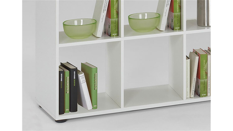 raumteiler mega 2 wei es b cherregal mit 10 f chern. Black Bedroom Furniture Sets. Home Design Ideas