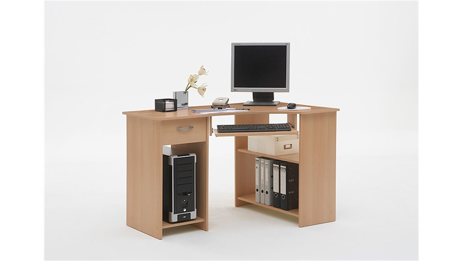 computertisch felix 1 eck schreibtisch pc tisch in buche. Black Bedroom Furniture Sets. Home Design Ideas