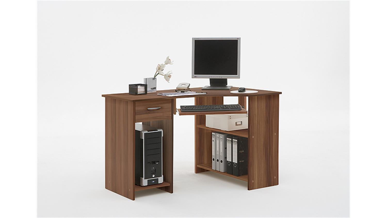 computertisch felix 1 eck schreibtisch pc tisch in nussbaum. Black Bedroom Furniture Sets. Home Design Ideas