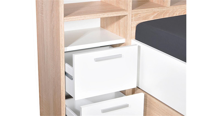 bett fabio einzelbett kinderbett in eiche und wei 90x200. Black Bedroom Furniture Sets. Home Design Ideas