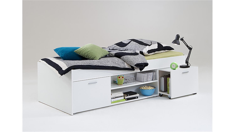 CARLO Einzelbett Kinderzimmermöbel 90x200 in weiß | {Kinderzimmermöbel weiß 40}