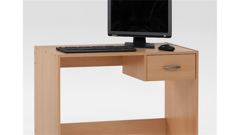 Computertisch pascal pc tisch schreibtisch in buche dekor for Tisch schreibtisch