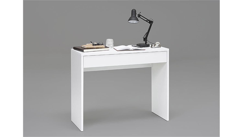 konsole checker schreibtisch in wei mit 1 schubkasten. Black Bedroom Furniture Sets. Home Design Ideas