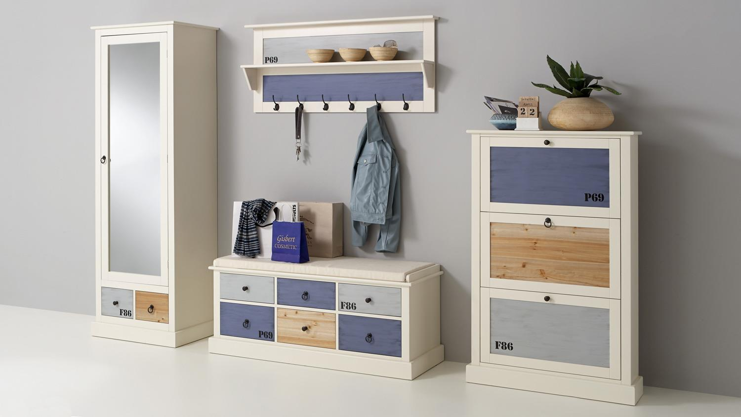Garderobe Set 4 Teilig Landhausstil Kernbuche Massiv ...