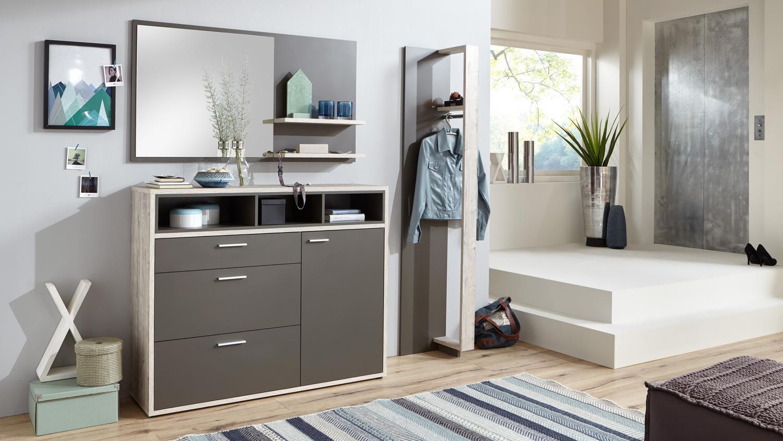 garderobenpaneel oxford paneel in lava und sandeiche mit kleiderstange. Black Bedroom Furniture Sets. Home Design Ideas
