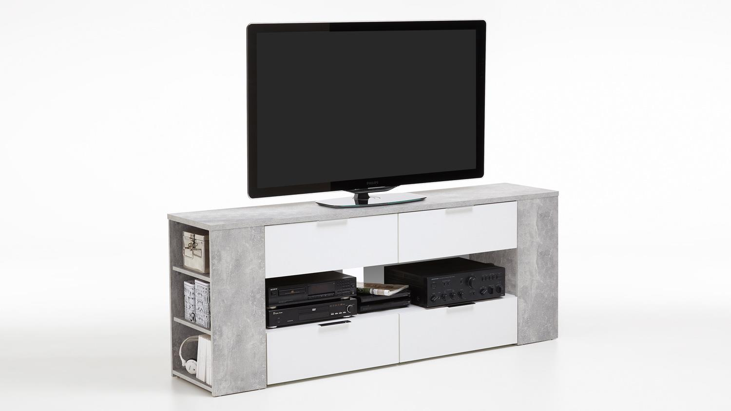 tv board tabor 4 in beton optik und wei mit 7 offenen f chern 180 cm. Black Bedroom Furniture Sets. Home Design Ideas