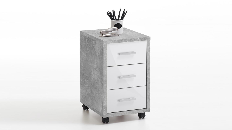 rollcontainer diego rollwagen b rocontainer beton und wei. Black Bedroom Furniture Sets. Home Design Ideas