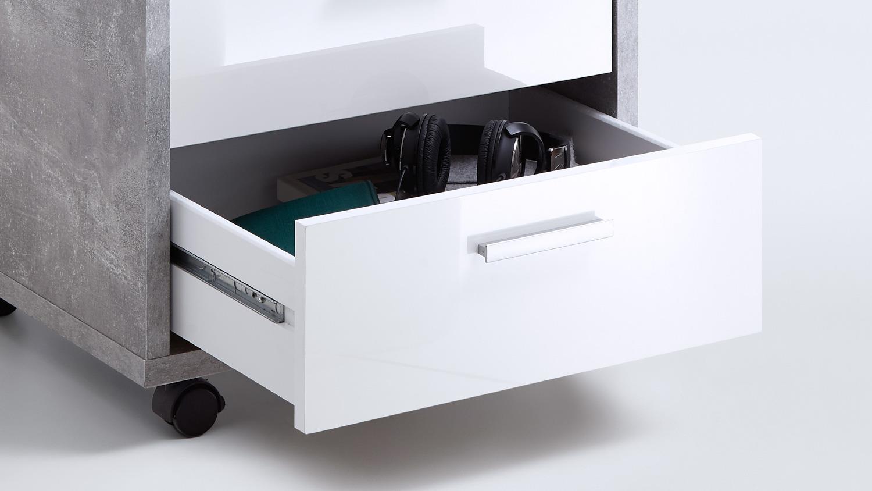 rollcontainer brick rollwagen b rocontainer beton und wei. Black Bedroom Furniture Sets. Home Design Ideas