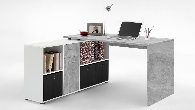 schreibtisch lexx winkeltisch beton optik und wei variabel montierbar. Black Bedroom Furniture Sets. Home Design Ideas