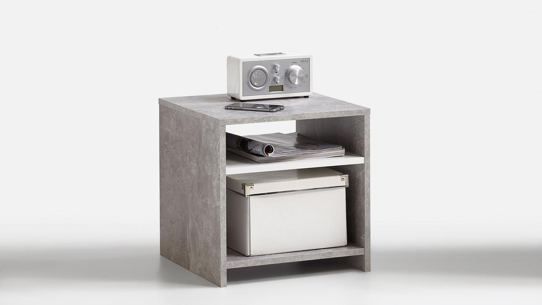 beistelltisch lund nachttisch in beton und weiß mit 2 ablagen 40x40 cm