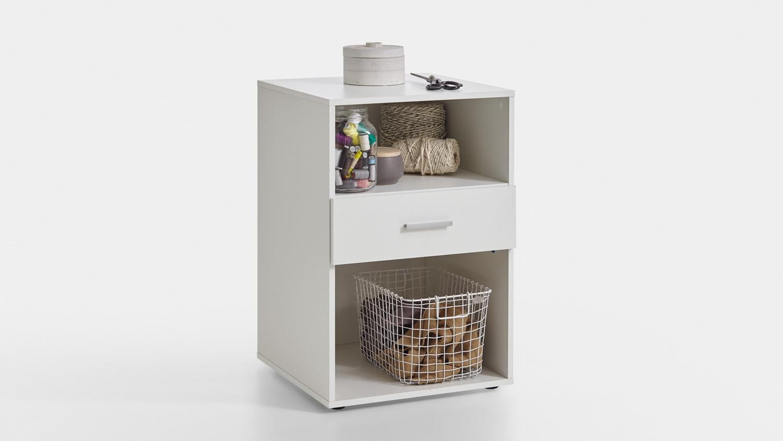 beistelltisch angers regal n hmaschinentisch schrank in wei 50 cm. Black Bedroom Furniture Sets. Home Design Ideas