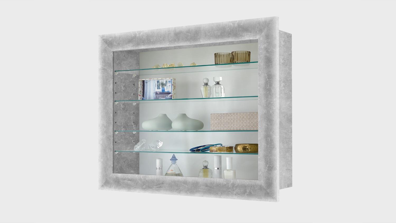 BORA 10 Vitrine Hängeschrank Glasvitrine in Beton 62 cm