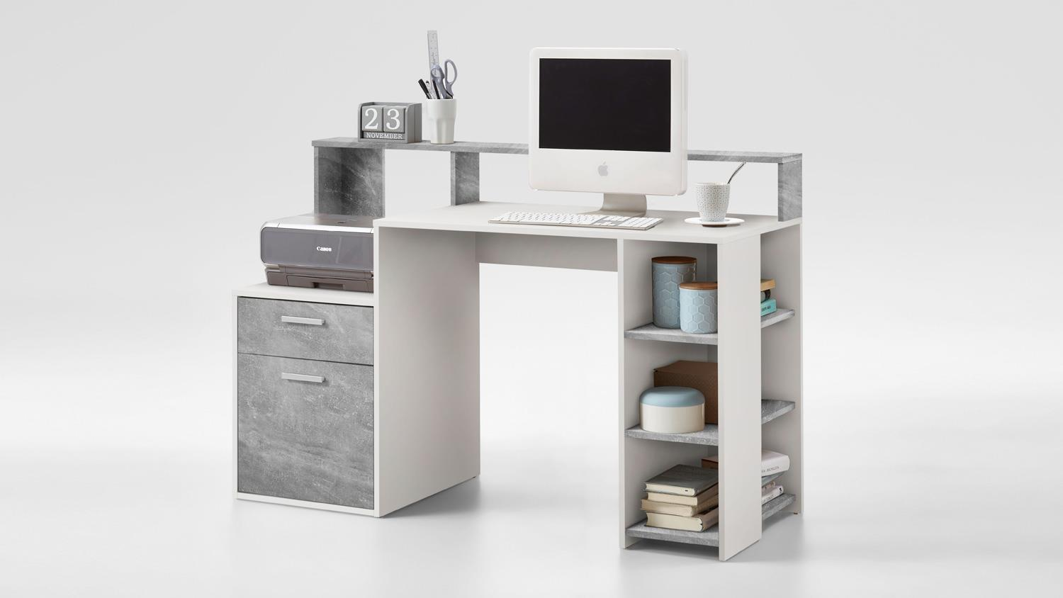 computertisch bolton schreibtisch b rotisch pc tisch in beton und wei. Black Bedroom Furniture Sets. Home Design Ideas