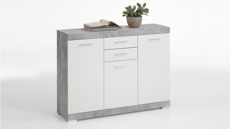 kommode bristol 3 schrank in beton und wei edelglanz 120 cm. Black Bedroom Furniture Sets. Home Design Ideas