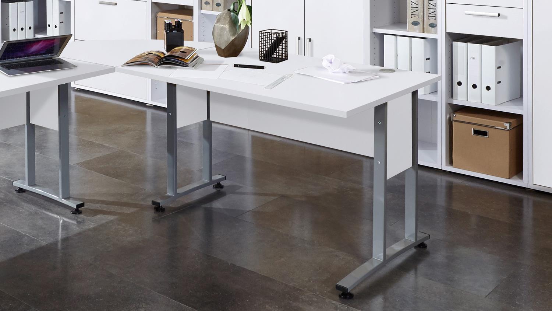 schreibtisch calvia 1 in wei mit metallkufen 120 cm. Black Bedroom Furniture Sets. Home Design Ideas