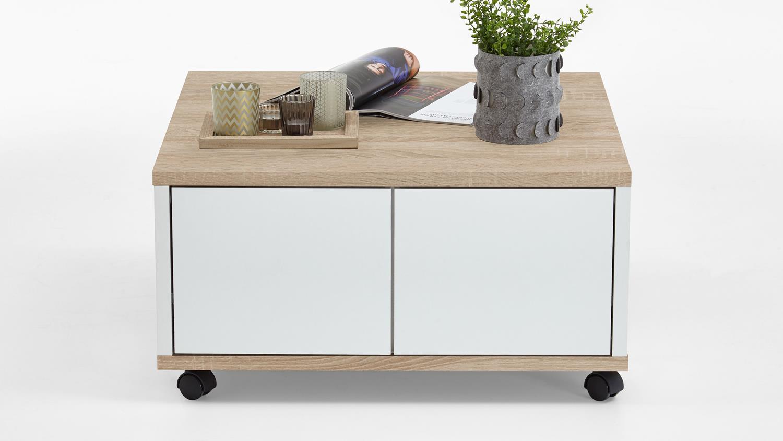 couchtisch twin wohnzimmertisch auf rollen eiche wei edelglanz. Black Bedroom Furniture Sets. Home Design Ideas