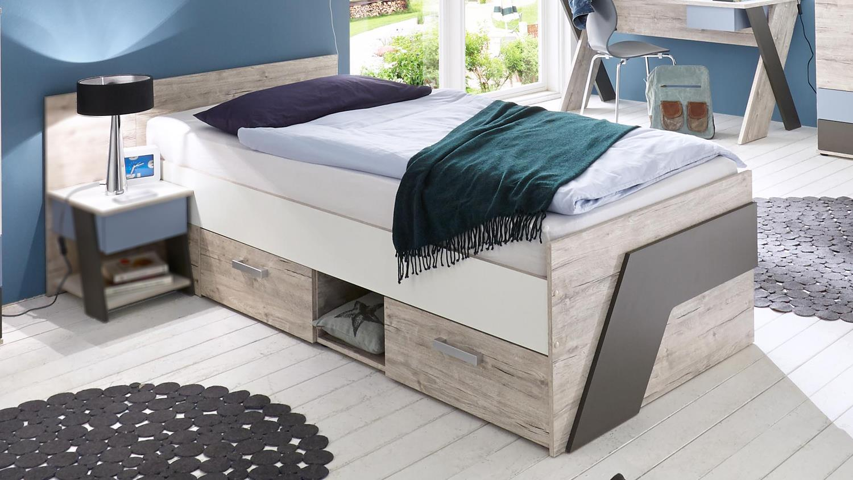 jugendbett nona kinderbett bett einzelbett in sandeiche. Black Bedroom Furniture Sets. Home Design Ideas