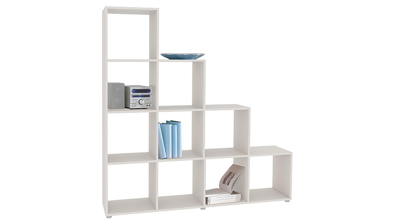 stufenregal bergamo 2 wei dekor 10 f cher. Black Bedroom Furniture Sets. Home Design Ideas