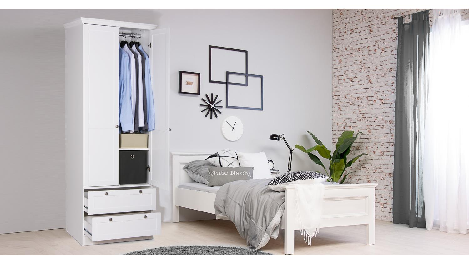 kleiderschrank landwood schrank in wei mit 2 schubk sten landhausstil. Black Bedroom Furniture Sets. Home Design Ideas