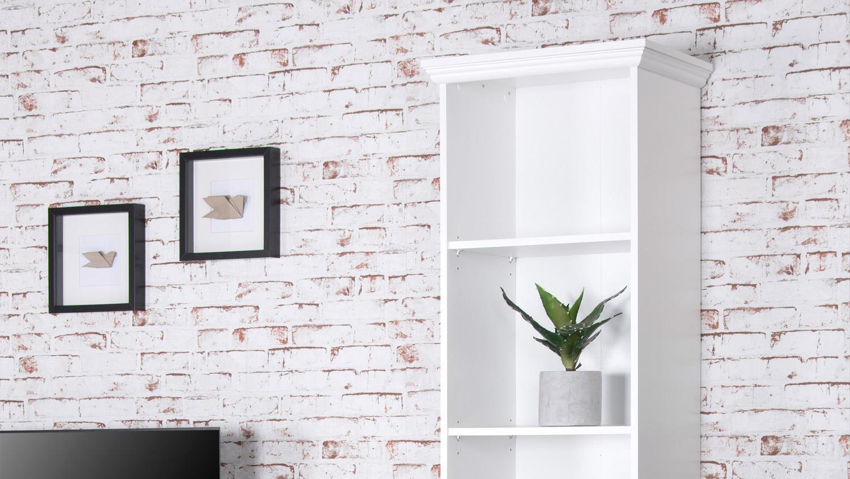 Bücherregal weiß landhaus  LANDWOOD Bücherregal in weiß mit 5 Fächern 50 cm Landhausstil