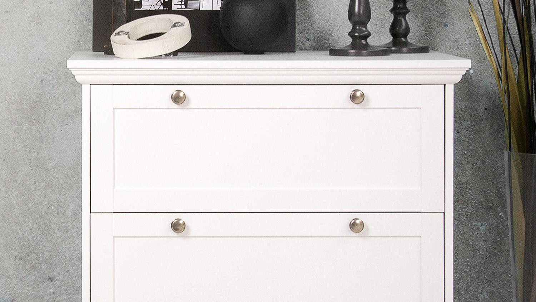 kommode landwood anrichte in wei mit 3 schubk sten landhausstil. Black Bedroom Furniture Sets. Home Design Ideas