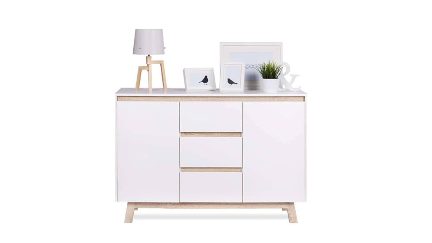 kommode apart 2 sideboard anrichte in wei und sonoma. Black Bedroom Furniture Sets. Home Design Ideas