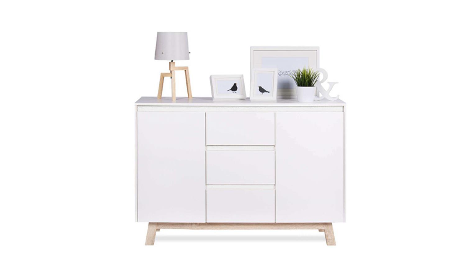 kommode apart 2 sideboard anrichte in wei und sonoma eiche 120 cm. Black Bedroom Furniture Sets. Home Design Ideas