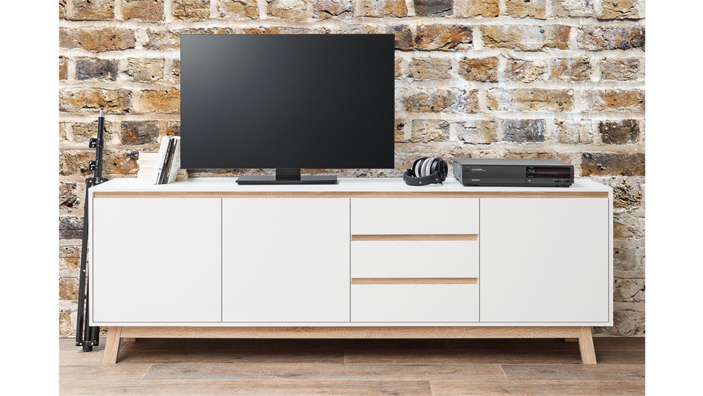 sideboard apart 3 wei und sonoma eiche breite 200 cm. Black Bedroom Furniture Sets. Home Design Ideas