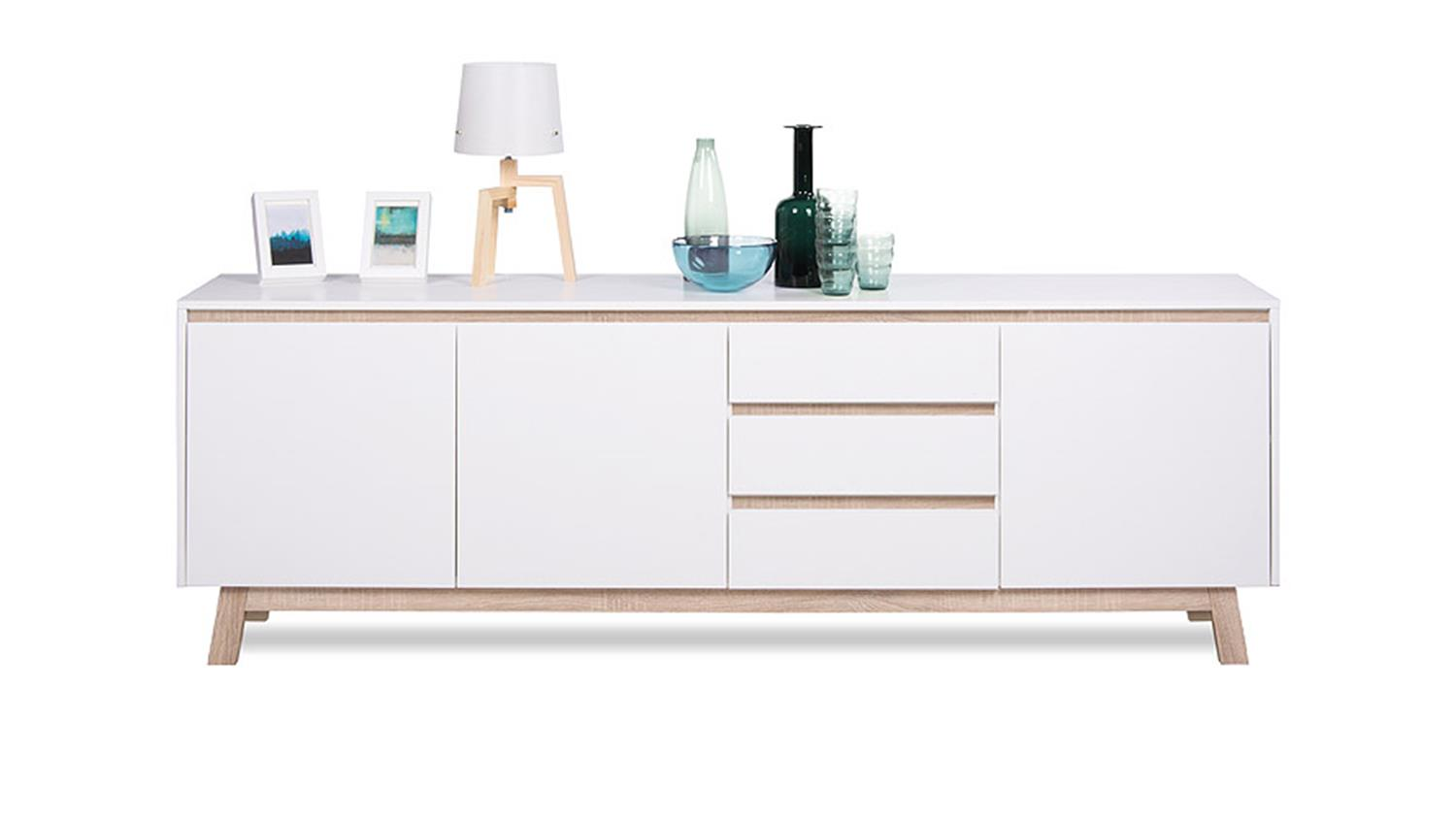 sideboard apart 3 anrichte kommode in wei und sonoma eiche 200 cm. Black Bedroom Furniture Sets. Home Design Ideas