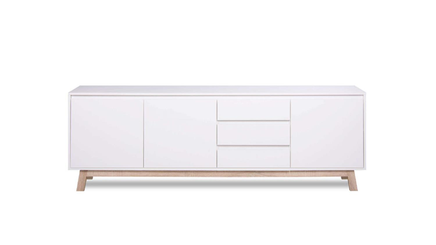 Sideboard apart 3 anrichte kommode in wei und sonoma for Kommode 200 cm
