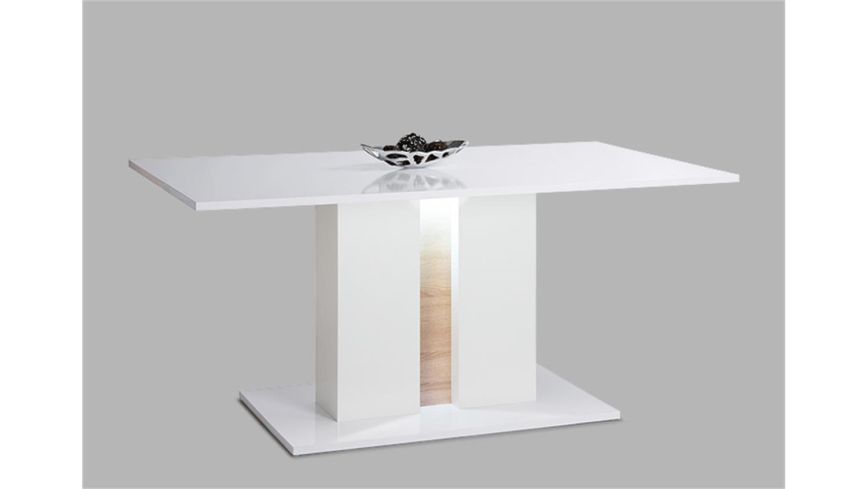 esstisch glossy wei und sonoma eiche inkl led. Black Bedroom Furniture Sets. Home Design Ideas