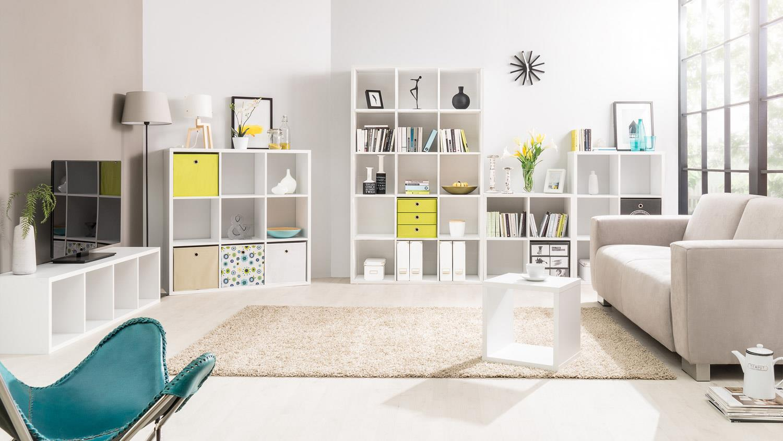 regal s ule 4er raumteiler in wei dekor mit 4 f chern. Black Bedroom Furniture Sets. Home Design Ideas