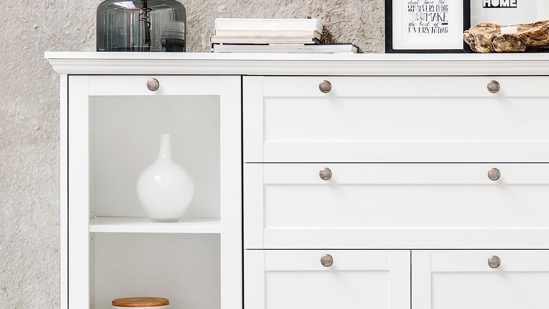 highboard landwood schrank anrichte in wei mit 4 t ren. Black Bedroom Furniture Sets. Home Design Ideas