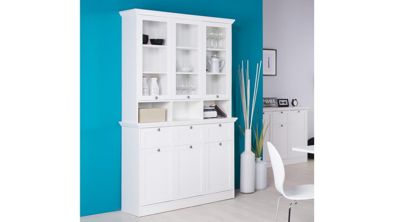 buffetschrank landwood vitrine schrank anrichte in wei landhausstil. Black Bedroom Furniture Sets. Home Design Ideas