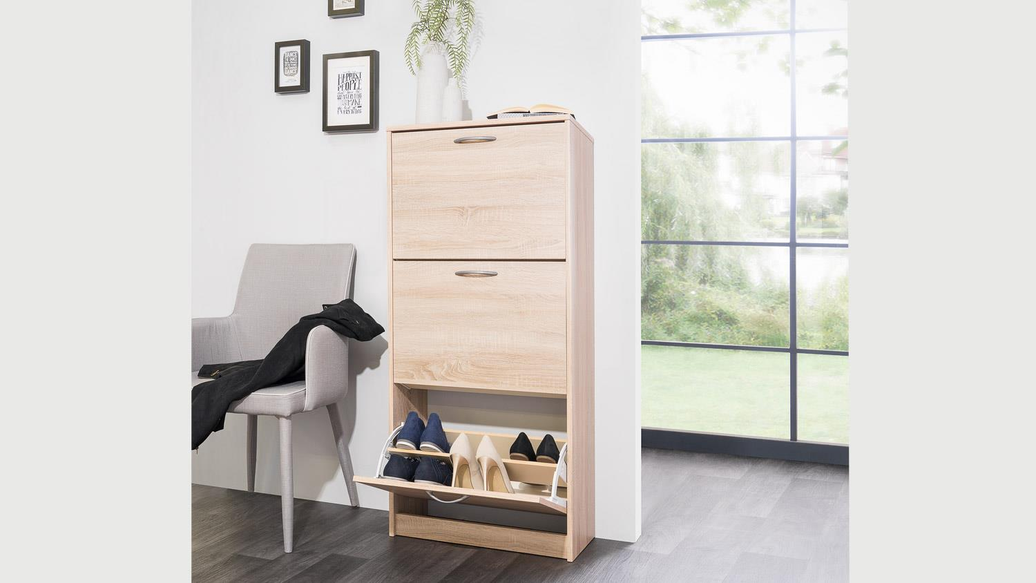 schuhschrank mainz 1 schuhkipper eiche sonoma mit 3 klappen. Black Bedroom Furniture Sets. Home Design Ideas