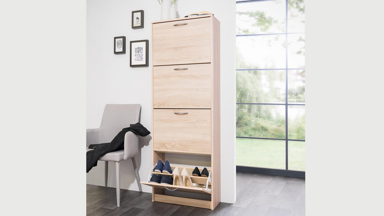 schuhschrank mainz 2 schuhkipper in eiche sonoma mit 4 klappen. Black Bedroom Furniture Sets. Home Design Ideas
